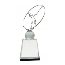 CRY146  Crystal Golf Award with Silver Metal Oval Figure